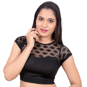 Lycra Black Cap Net Sleeves Princess Cut Stretchable blouse