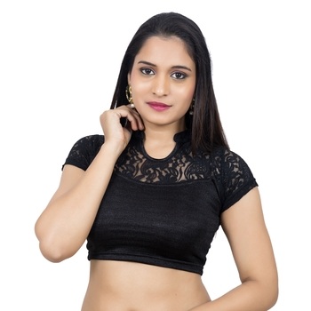 Black Lycra Stretchable Stand Coller Short Net Sleeves Readymade Saree Blouse
