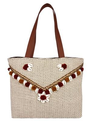 Seashell Beige Canvas Jacquard Handbag