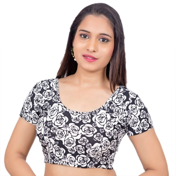 Lycra Black White Rose Printed Short Sleeves Stretchable Readymade Saree Blouse