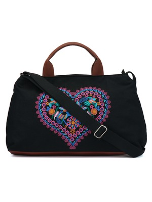 Weekender Printed Black Canvas Handbag