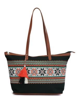 Hoist Geometrical Print Black Canvas Handbag