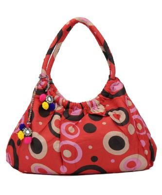 Dot Red Printed tassel Cotton Hand Bag