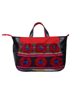 Wolly Red and Black Jacquard Tote Bag