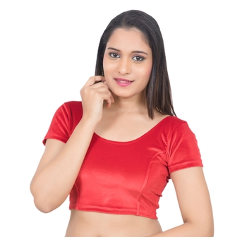 Velvet Red Short Sleeves Princess Cut Stretchable blouse