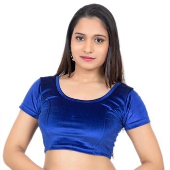 Velvet Blue Short Sleeves Princess Cut Stretchable blouse