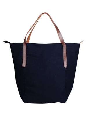 carryall navy blue canvas tote bag