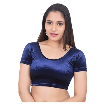 Velvet blue Blue Short Sleeves Princess Cut Stretchable blouse