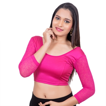 Pink 3/4 Net Sleeves Lycra Princess Cut Stretchable blouse