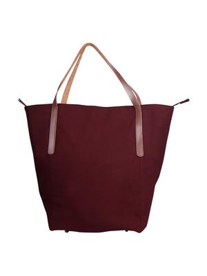 carryall maroon canvas tote bag
