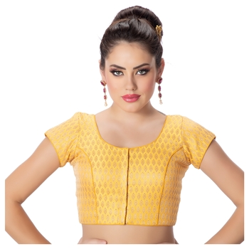 Brocade Yellow Short Sleeves Princess Cut Padded blouse