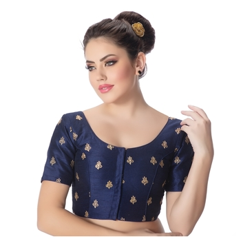 Navy Blue Dupion Silk Embroidered Elbow Sleeves Princess Cut Padded blouse