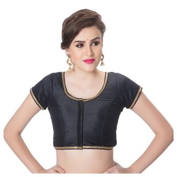 Black Dupion Silk Princess Cut Padded Short Sleeves blouse
