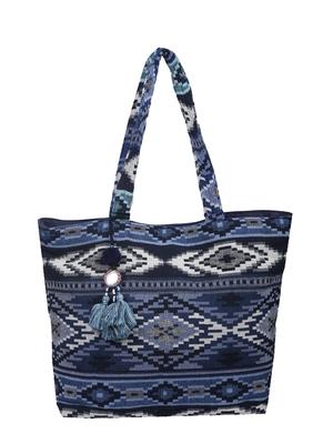 Nava Jacquard Blue Tote Bag