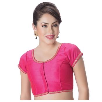 Pink Dupion Silk Princess Cut Padded Short Sleeves blouse