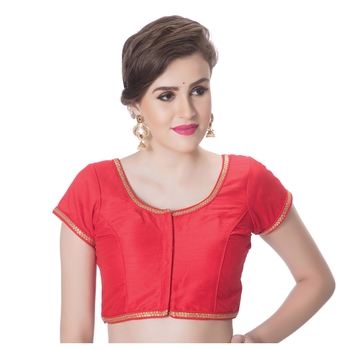 Red Dupion Silk Princess Cut Padded Short Sleeves blouse