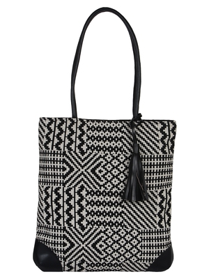 Topical cotton Jacquard Black and White Tote Bag