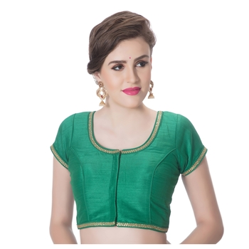 Green Dupion Silk Princess Cut Padded Short Sleeves blouse