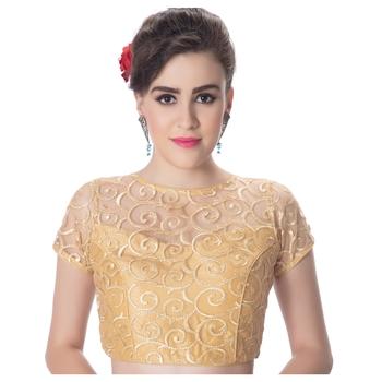Gold High Neck Dupion Silk Full Net Princess Cut Padded Short Sleeves Back Open blouse