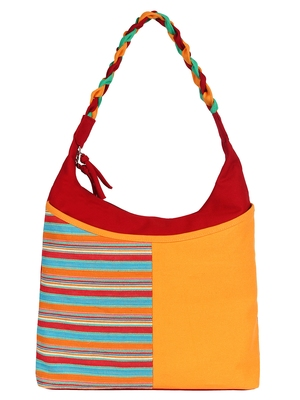 Caliber Canvas cotton Yellow and red Shoulder Bag
