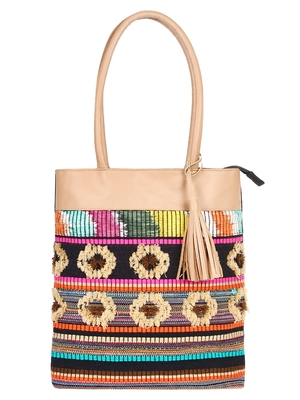 Woolly Multicoloured Jacquard Tote Bag