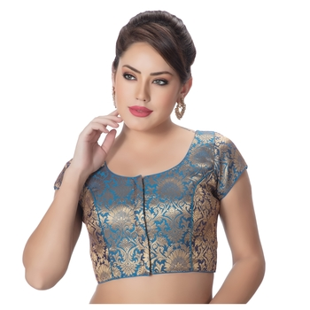 Brocade Firozi Princess Cut Padded Short Sleeves Readymade Saree Blouse