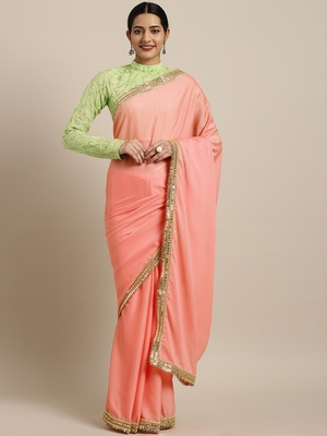 Inddus Pink Silk Blend Lace Bordered Saree With Embroidered Blouse