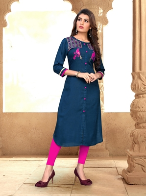 Blue embroidered rayon party-wear-kurtis