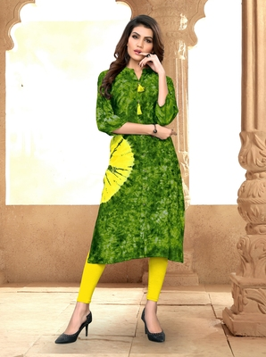 Light-green printed rayon party-wear-kurtis