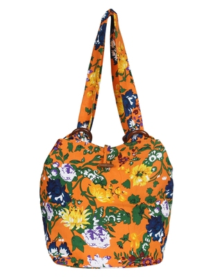 Florid Orange and multicoloured Canvas Shoulder bag