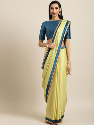 Inddus Yellow Satin Georgette Woven Lace Bordered Saree With Blouse