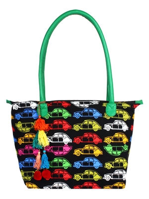 Mobile Women's Canvas Black and Mulicoloured Tote bag