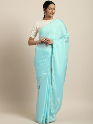 Inddus Powder Blue  Satin Georgette Lace Bordered Saree With Embroidered Blouse