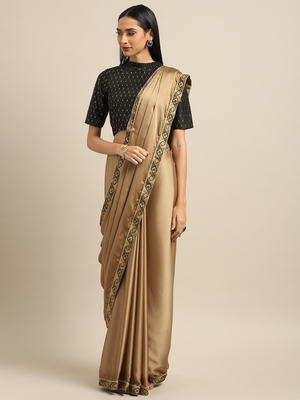 Inddus Brown Georgette Woven Lace Border Saree With Blouse
