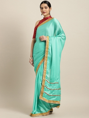Inddus Sea Green Satin Georgette Lace Bordered Saree With Blouse