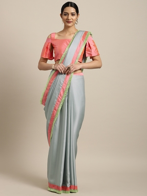Inddus Blue Satin Georgette Lace Bordered Saree With Blouse