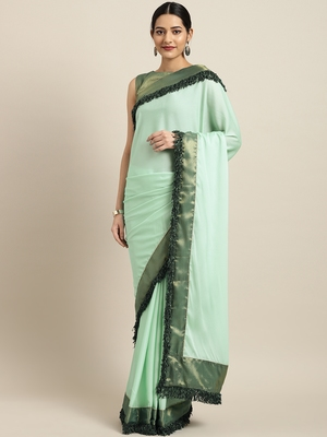 Inddus Sea Gren Silk Blend Lace Bordered Fringes Saree With Woven Blouse