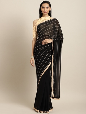 Inddus Black Georgette Foil Print Saree with Embroidered Blouse