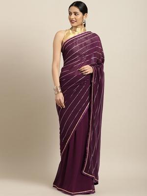 Inddus Purple Georgette Foil Print Saree With Solid Blouse