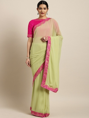 Inddus Green Georgette Lace Bordered Saree With Blouse