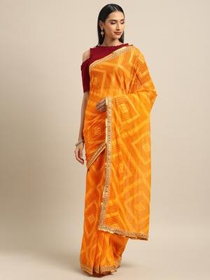 Inddus Yellow Chiffon Lace Bordered Bandhani Saree with Blouse
