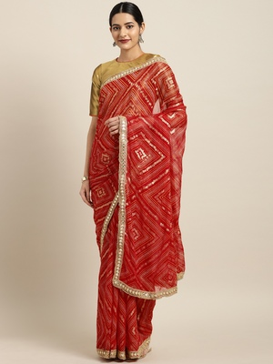 Inddus Red Chiffon Lace bordered Bandhani Saree with Blouse