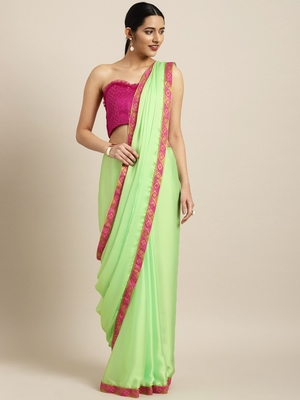 Inddus Green Georgette Woven Lace Bordered Saree With Blouse