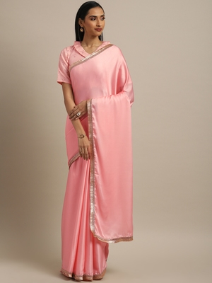Inddus Pink Satin Georgette Lace Bordered Saree With Blouse