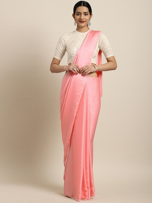 Inddus Pink Satin Georgette Lace Bordered Saree with Embroidered Blouse