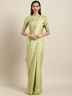Inddus Green Silk Blend Lace Bordered Saree With Embroidered Blouse