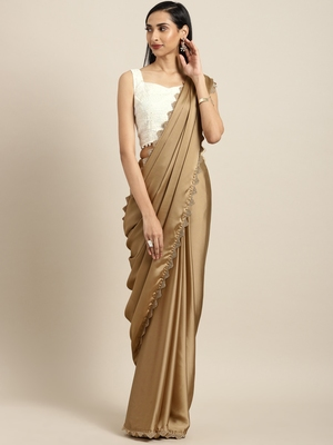 Inddus Brown Satin Georgette Lace Bordered Saree With Embroidered  Blouse