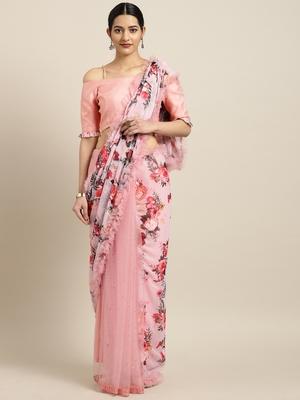 Inddus Pink Chiffon Floral Print Half And Half Ruffled Saree With Blouse