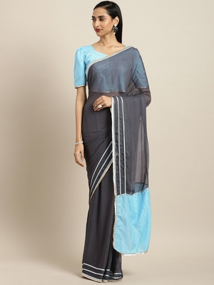 Inddus Grey Georgette Mukaish work Saree With Blouse
