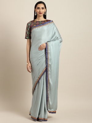 Inddus Blue Georgette Lace Bordered Saree With Woven Blouse
